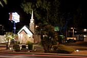 Las Vegas Boulevard, The Strip. Graceland Wedding Chapel, downtown Las Vegas, Nevada, USA