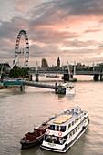View from Waterloo Bridge towards the Houses of Parliament, Big Ben and London Eye, London, England, Europe