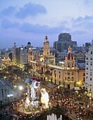 Town Hall Square during fallas fest, Valencia. Comunidad Valenciana, Spain