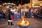 Preparing queimada (Galician traditional hot alcoholic drink) during folk festival in Fuengirola. Málaga province, Costa del Sol. Andalusia, Spain
