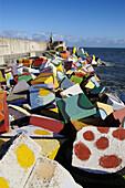 Los Cubos de la Memoria (the cubes of memory, work by sculptor Agustin Ibarrola in the seaport), Llanes. Asturias, Spain