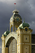 Prague, Holosovice, old fair ground, old exhibition center, clock tower, iron-glass construction, art nouveau, Czech Republic