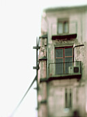 Architecture, Balconies, Balcony, Building, Buildings, Cities, City, Closed, Color, Colour, Condominium, Condominiums, Daytime, Exterior, From below, House, Houses, Housing, Low angle, Low angle view, Outdoor, Outdoors, Outside, Selective focus, Special e