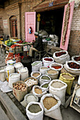 A local grocery store in Kashgar, Xinjiang Province, China