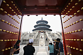 Architecture, Asia, Beijing, China, Color, Colour, Daytime, Entrance, Entrances, Entries, Entry, Far East, Frame, Framing, Gate, Gates, Human, Indoor, Indoors, Interior, Pekin, Peking, People, Person, Persons, Stairs, Steps, Temple, Temple of Heaven, Temp