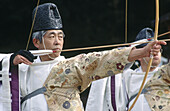A view of monk archers at kamigamo-jinja for an archery contest. Kyoto city. Kyoto. Japan.