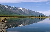 View of Baikal lake with Sayan mountain range, Siberia, Russia