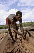 Asmat man building his canoe out of a timber, Western Papuasia, Former Irian-Jaya, Indonesia