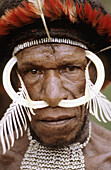 Portrait of Dani man with painted face, rooster feathers head-dress and  nose adornment made of bones, Western Papuasia, Baliem valley, Former Irian-Jaya, Indonesia
