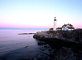 Portland Head Light at sunset. Fort Williams Park. Cape Elizabeth. Maine. USA