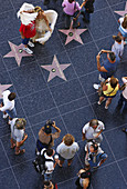 Aerial view, Walk of Fame, Hollywood, California.