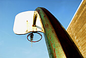 Active, Activities, Afternoon, Alone, Ball, Basket, Basketball, Basketball court, Blue sky, Building, Challenge, Challenging, Color, Colour, Contemporary, Court, Deserted, Excercise, Excercising, Finished, Fresh air, Future, Game, Games, Hoop, Hoops, Hori
