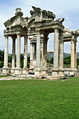 Ancient, Ancient history, Antiquity, Aphrodisias, Archaeology, Asia, Color, Colour, Daytime, Exterior, History, Outdoor, Outdoors, Outside, Remains, Roman, Roman architecture, Ruins, Temple, Temples, Travel, Travels, Turkey, World locations, World travel,