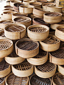 Bamboo dim sum steamers in Chinese restaurant, Hat Yai, Thailand
