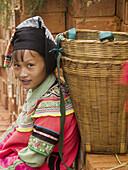 Yi gal at market, Shencun, Yuanyang, China