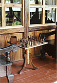 Chess table on cabin deck in Playa del Coco, Costa Rica