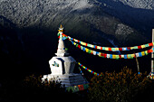 Memorial chorten (stupa) at sunrise, Shangri-La, Yunnan province, China.