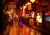Asia, Chengdu, China, Food, Jinli, Life, Neon, Night, Pedestrian precinct, Pedestrian precincts, Pink, Province, Shopping, Sichuan, Signs, Street, Szechwan, Time, T91-604826, agefotostock