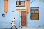 Typical façade of a house in Holguín. Cuba.