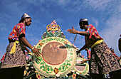 Malaysia, East Coast Folkloric Giant Drum players in action during National Day