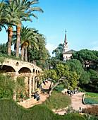 Antonio Gaudi, Architektur, Außen, Barcelona, Catalunya, Cataluña, Dach, Dächer, Detail, Details, Europa, Farbe, Jugendstil, Katalonien, Kunst, Länder, Palme, Palmen, Parc Güell, Park, Parks, Plätze der Welt, Reisen, Sehenswürdigkeit, Sehenswürdigkeiten,
