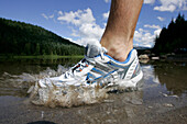 Close up of a runners shoe, Vermillion Lake, Hood to Coast Relay Race, from Mount Hood to the coast, Oregon, USA