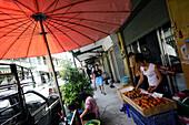 Fruit and vegetable vendor, Phra Nathon quarter, Bangkok, Thailand