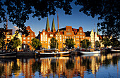 Houses at Holsten harbour in the light of the evening sun, Luebeck, Schleswig Holstein, Germany, Europe