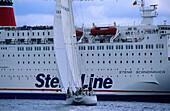 Sailing boat in front of a ferry, Kiel week, Kiel, Schleswig Holstein, Germany, Europe