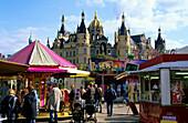 Europe, Germany, Mecklenburg-Western Pomerania, Schwerin, fun fair in front of Schwerin Castle