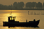 Europe, Germany, Mecklenburg-Western Pomerania, isle of Rügen, Waase on Ummanz, fishing boat at sunset.