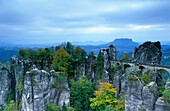 Europe, Germany, Saxony, Elbe Sandstone Mountains, Saxon Switzerland, Bastei bridge