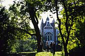People near Gothic House, Dessau-Worlitz Garden Realm, Worlitz, Saxony-Anhalt, Germany