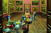 Europe, Germany, Saxony, Dresden, Old Masters Picture Gallery, museum visitors in the exhibition room