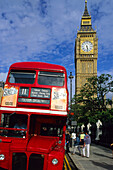Europe, Great Britain, England, London, typical red bus with Big Ben in the background
