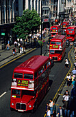 Europe, Great Britain, England, London, typical red double decker buses on Oxford Street