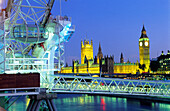 Europe, Great Britain, England, London, London Eye with view of the River Thames, Big Ben and the Houses of Parliament