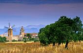 Europe, Spain, Majorca, Algaida, windmill and church
