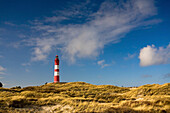 View over Kniepsand dunes to lighthouse, Amrum island, Schleswig-Holstein, Germany