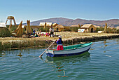 Indigenous people of the Uros on a reef Island, Lake Titicaca, Peru, South America
