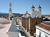 View from the steeple of San Francisco church down to Sucre, Bolivia, South America