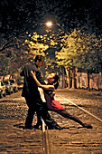 Young couple dancing the tango, San Telmo, Buenos Aires, Argentina, South America
