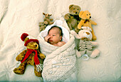 Child infant boy with bear toys