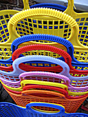 Basket, Baskets, Close up, Close-up, Closeup, Color, Colored, Colorful, Colors, Colour, Coloured, Colourful, Colours, Commerce, Concept, Concepts, Daytime, Detail, Details, Empty, Exterior, Handle, Handles, Heap, Heaped, Heaps, Object, Objects, Outdoor, O