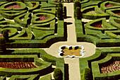 Villandry castle gardens, maze detail. Val-de-Loire, France