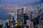 Central Business Distric and harbour, panorama. Hong Kong. China