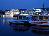Lake Alster with Hapag Lloyd Building, Hanseatic City of Hamburg, Germany