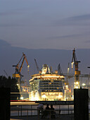 Cruise Ship Jewel of the Seas in the shipyard, Hanseatic City of Hamburg, Germany