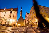 Pedestrian in front of Town Hall, Tallinn, Estonia, Europe