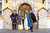 Actors in front of the entrance door of the Schwarzhäupterhaus, Tallinn, Estonia, Europe